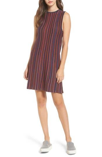 Rvca Foolish Stripe Knit Dress, Burgundy
