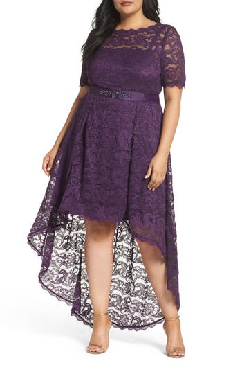 Plus Size Adrianna Papell Lace High/low Dress, Purple