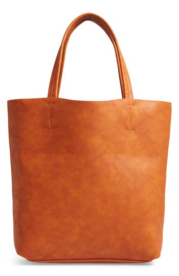 Sole Society Oversize Melyssa Faux Leather Tote - Brown