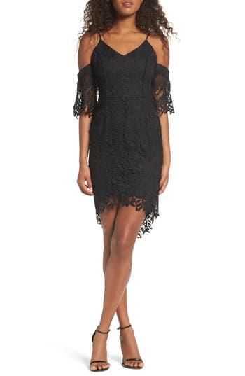 Adelyn Rae Krista Cold Shoulder Lace Sheath Dress, Black