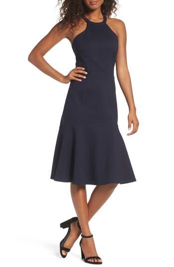 Adelyn Rae Halter Ponte Midi Dress, Blue