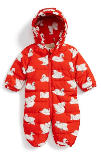 Infant Girl's Stella Mccartney Kids Puddle Swan Hooded Snowsuit, Size 18M - Red