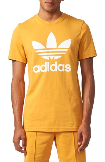 Men's Adidas Originals Trefoil Graphic T-Shirt, Size Small - Yellow
