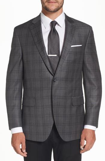 Big & Tall Peter Millar Flynn Classic Fit Plaid Wool Sport Coat, 0 L - Grey