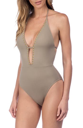 La Blanca Deco Halter One-Piece Swimsuit, Grey