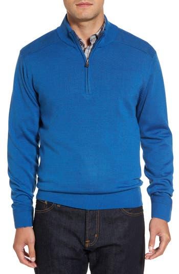 Cutter & Buck Douglas Quarter Zip Wool Blend Sweater, Blue