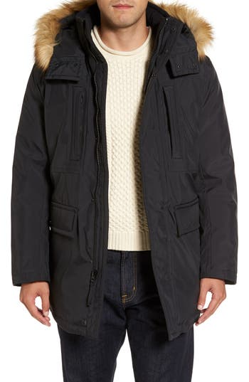 Marc New York Down Jacket With Faux Fur Trim, Black