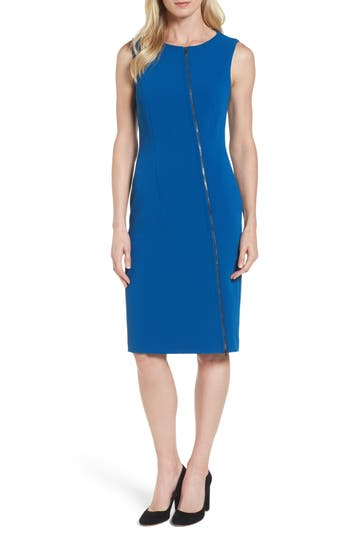 Boss Danafea Zip Detail Sheath Dress, Size Blue