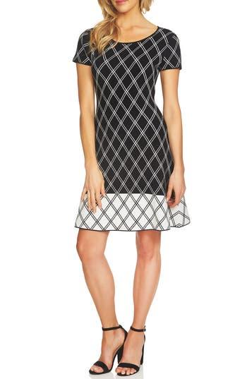 Cece Plaid Sweater Dress, Black
