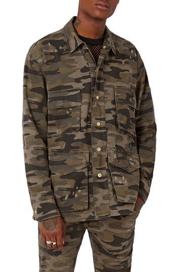 Men's Topman Aaa Collection Distressed Camo Field Jacket