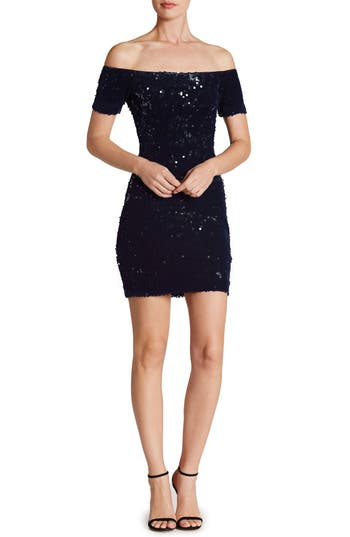Dress The Population Larissa Sequin Off The Shoulder Body-Con Dress, Blue