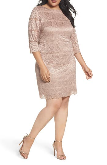 Plus Size Eliza J Lace Shift Dress, Beige