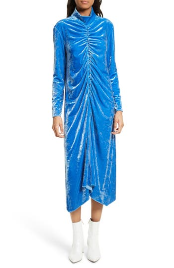 Tibi Stretch Velvet Midi Dress, Blue