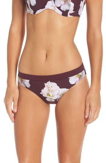 Ted Baker London Garcela Gardenia Bikini Bottoms, Burgundy