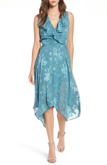 Leith Handkerchief Hem Faux-Wrap Midi Dress, Blue/green
