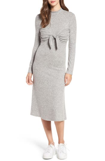 Everly Tie Front Knit Dress, Grey