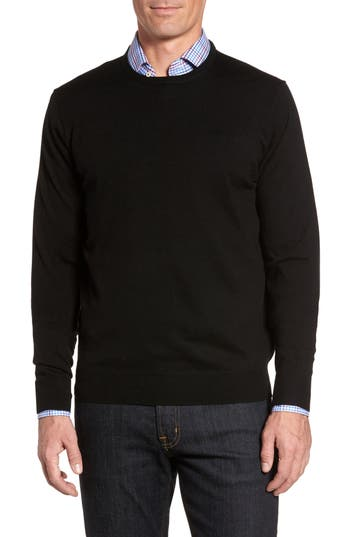 Peter Millar Crown Soft Merino Wool & Silk Crewneck Sweater, Black