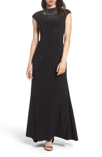 Eliza J Embellished Mock Neck Gown, Black