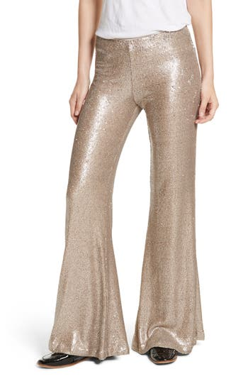 Free People The Minx Sequin Flare Pants, Metallic