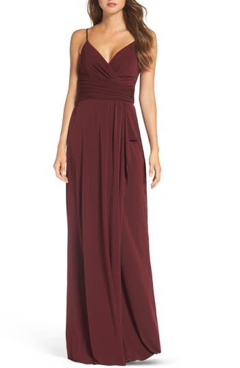 Amsale Celina Mock Wrap Gown, Red