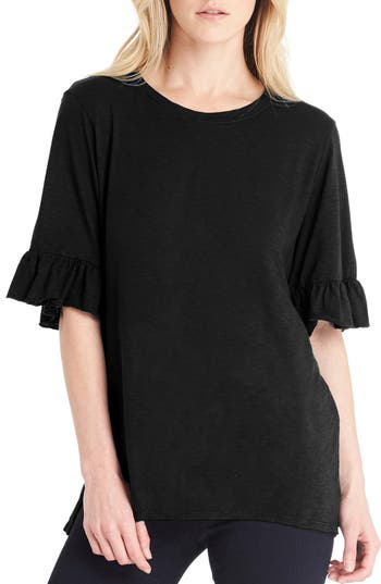 Women's Michael Stars Ruffle Sleeve Top, Size One Size - Black