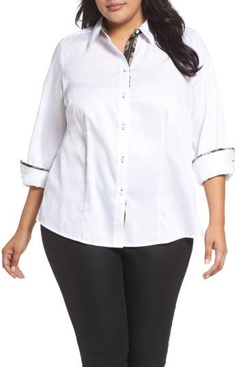 Plus Size Foxcroft Brooke Contrast Trim Sateen Shirt, White
