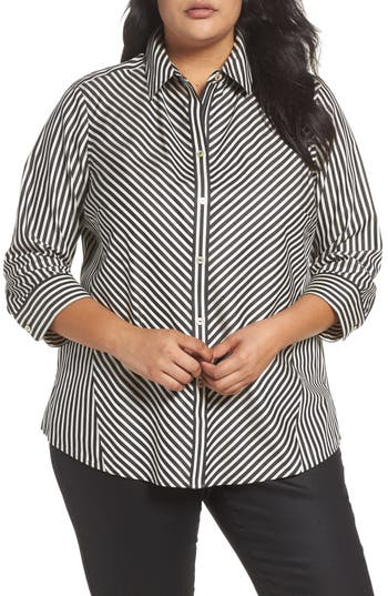Plus Size Women's Foxcroft Fallon Satin Stripe Cotton Shirt