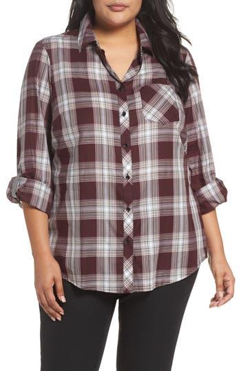 Plus Size Foxcroft Addison Plaid Cotton Shirt, Red