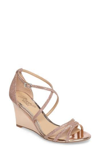 Women's Jewel Badgley Mischka Hunt Glittery Wedge Sandal