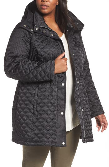 Plus Size Andrew Marc Quilted Down Jacket, Black