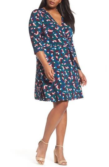 Plus Size Women's Leota Wrap Dress, Size 1X - Blue