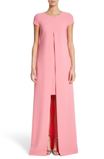 St. John Evening Overlay Crepe A-Line Gown, Pink