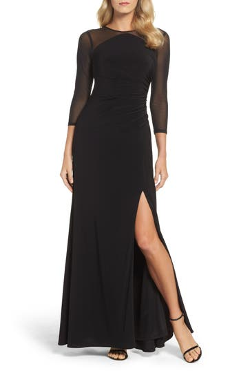 Adrianna Papell Illusion Jersey Gown, Black