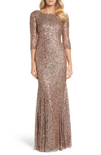 Adrianna Papell Beaded Trumpet Gown, Metallic
