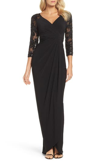Adrianna Papell Lace Sleeve Gathered Gown, Black