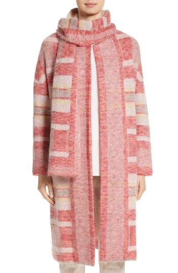 Women's St. John Collection Lofty Knit Plaid Blanket Coat, Size Petite - Pink