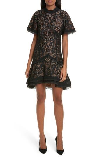 Jonathan Simkhai Tower Mesh Lace Ruffle Minidress, Black