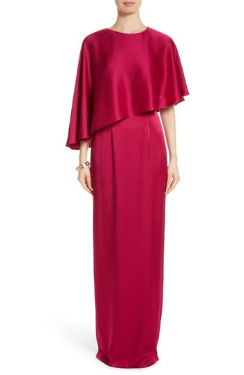 St. John Evening Popover Cape Liquid Crepe Column Gown, Pink