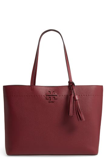 Tory Burch Mcgraw Leather Tote - Burgundy
