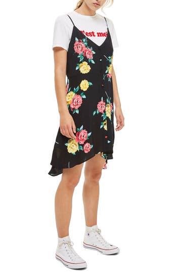 Petite Topshop Button Floral Slipdress, P US (fits like 0P) - Black