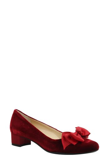 J. Renee Cameo Bow Pump - Red