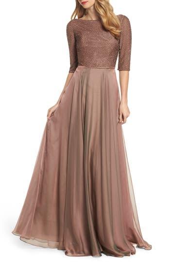 La Femme Embellished Bodice Gown, Brown