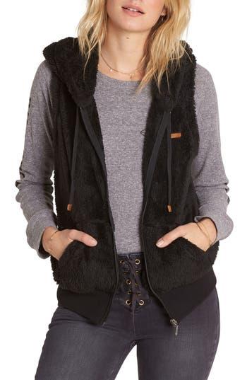 Women's Billabong Side By Side Fleece Hooded Vest, Size Small - Black