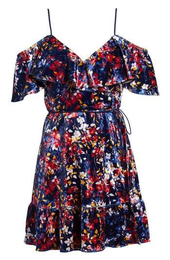 Devlin Iris Cold Shoulder Velvet Wrap Dress, Black