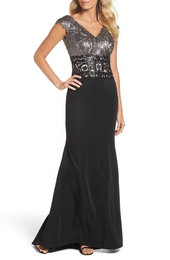 Tadashi Shoji Sequin Woven Fit & Flare Gown, Black
