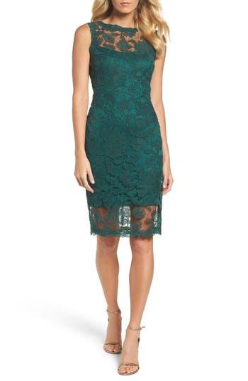 Tadashi Shoji Corded Lace Sheath Dress, Green