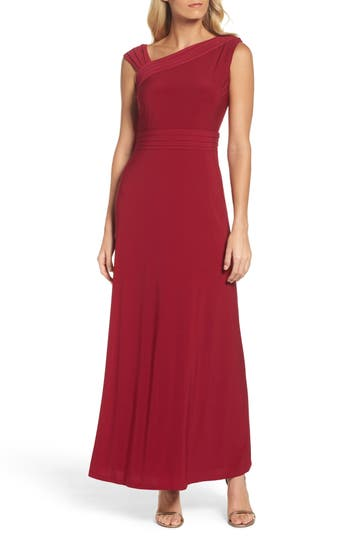 Ellen Tracy Asymmetrical Neck Jersey Gown, Red