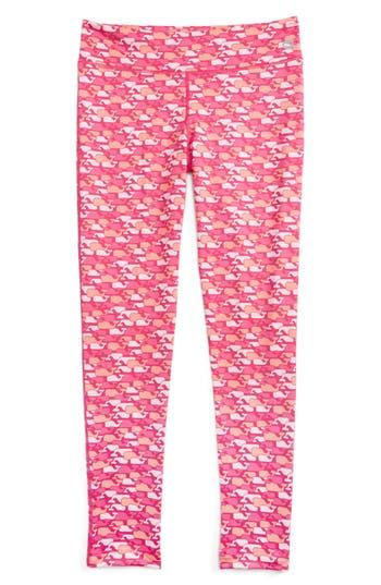Girl's Vineyard Vines Whale Outline Print Performance Leggings, Size XS (5-6) - Pink
