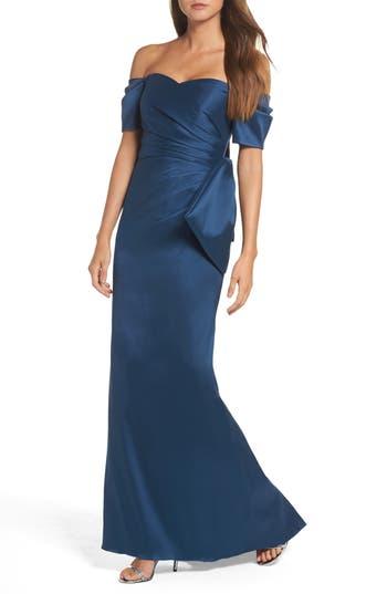 Badgley Mischka Bow Back Off The Shoulder Gown, Blue