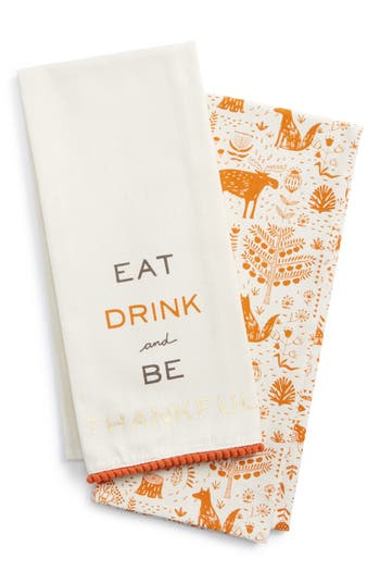 Levtex Be Thankful Set Of 2 Dish Towels, Size One Size - Beige